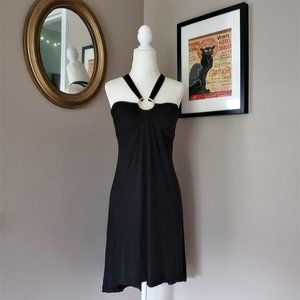 Cache Black Tie Neck Dress with Ring Detail XS NWT
